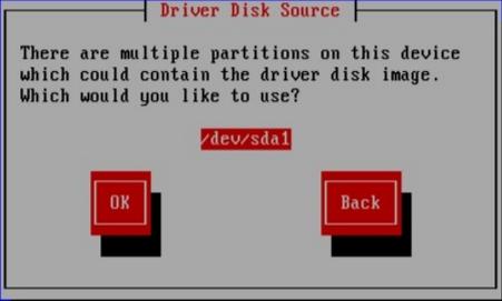 Selezione partizione del disco del driver