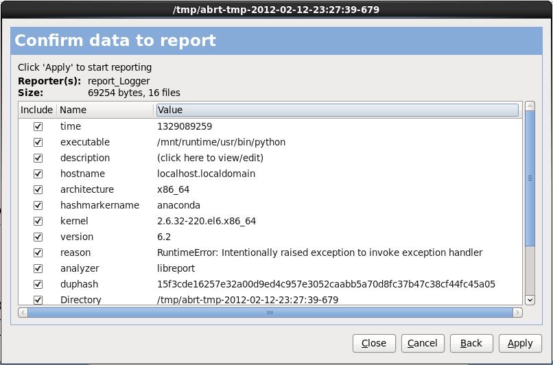 Confermare i dati del report
