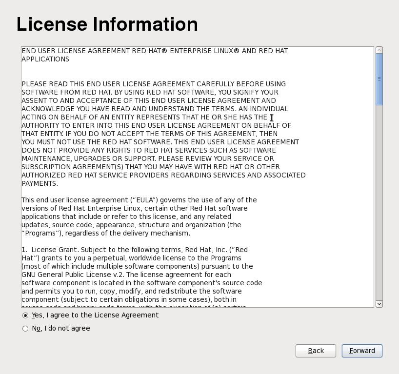 Schermata della licenza di Firstboot