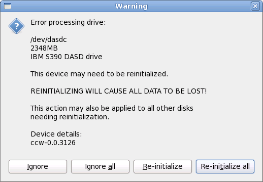 Schermata di avvertimento – inizializzazione DASDin corso