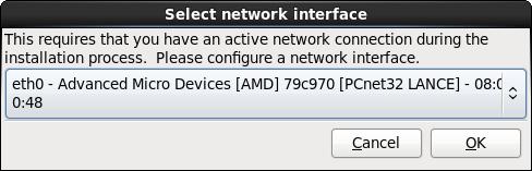Selezionare l'interfaccia di rete
