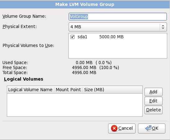 Crea un gruppo di volumi LVM