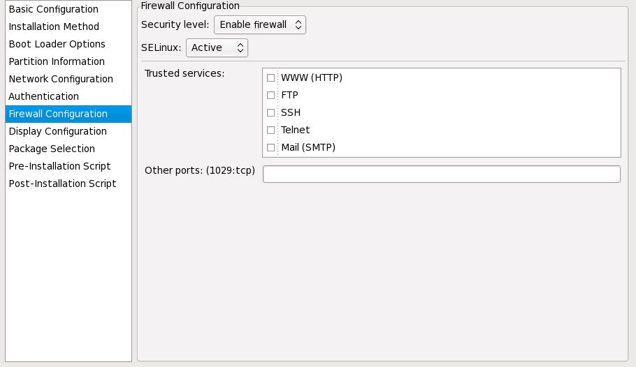 Configurazione firewall