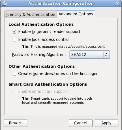 Schermata opzioni avanzate per l'autenticazione di Firstboot