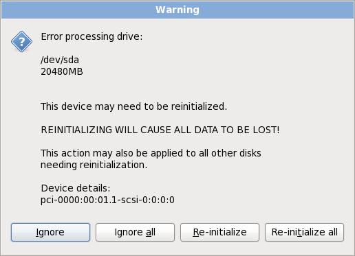 Schermata di avvertimento – inizializzazione disco fisso
