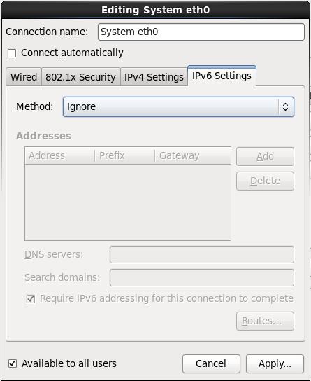 IPv6 のセッティングのタブ