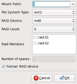 ソフトウェア RAID デバイスの作成