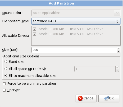 ソフトウェア RAID パーティションの作成