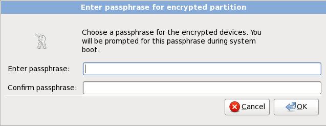 暗号化されたパーティション用のパスフレーズを入力