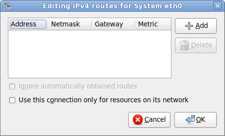 IPv4 ルートを編集のダイアログ