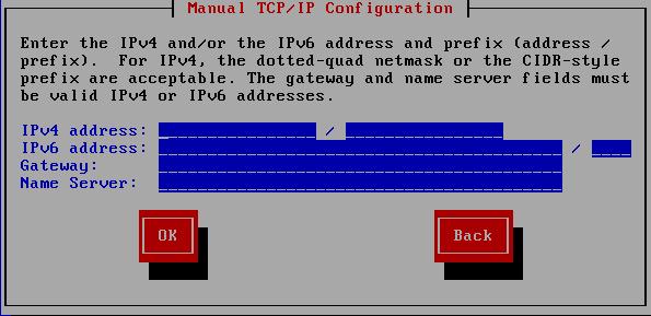 手動による TCP/IP 設定