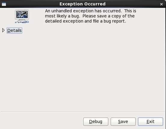 クラッシュレポートのダイアログボックス