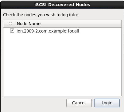 iSCSI 探索されたノードのダイアログ