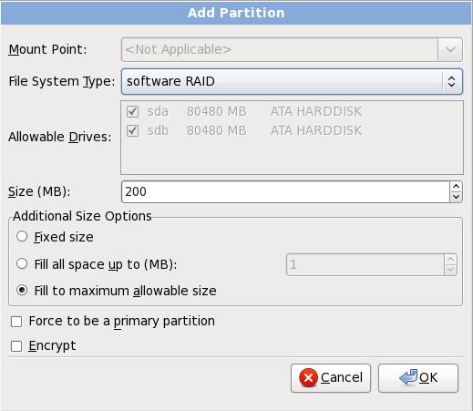 소프트웨어 RAID 파티션 생성