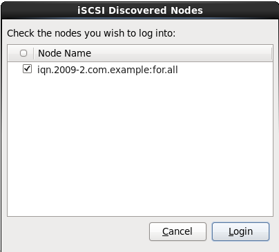 iSCSI 검색된 노드 대화 상자