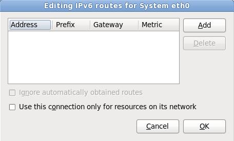 A caixa de diálogo Editando Rotas do IPv6
