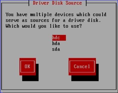 Selecionando uma fonte de driver de disco.