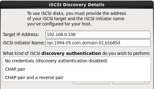 autenticação do discovery iSCSI