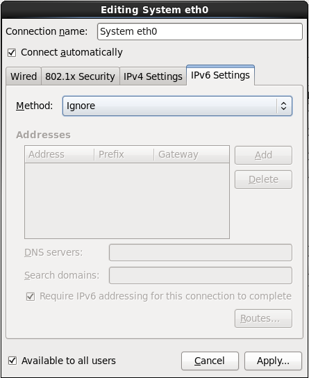 A aba de configurações IPv6