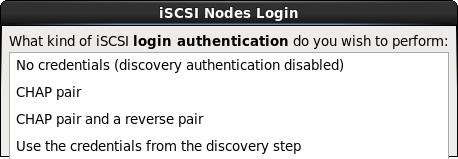 autenticação da sessão iSCSI