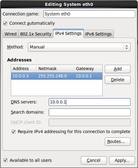 Вкладка параметров IPv4