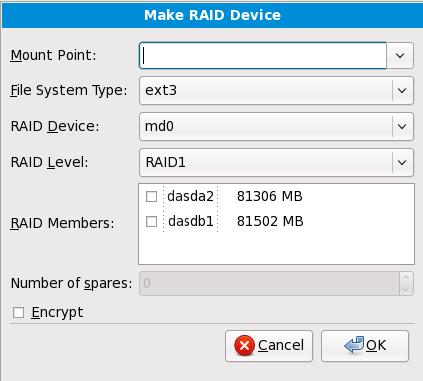 Создание устройства RAID