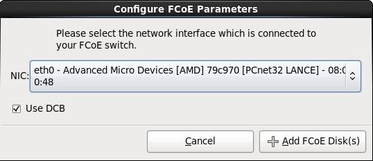 Настройка параметров FCoE
