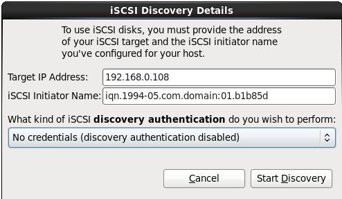 Окно определения настроек iSCSI