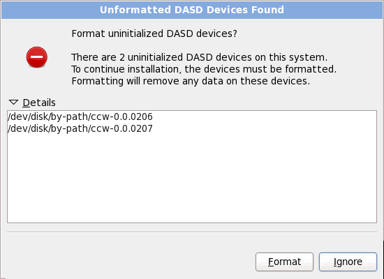 Обнаружены неформатированные устройства DASD