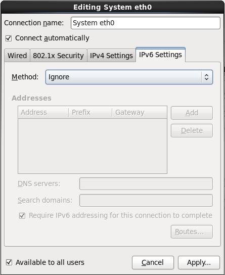 Вкладка параметров IPv6