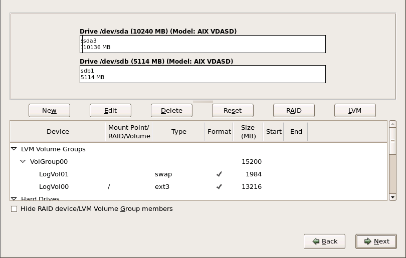 在 IBM Systerm p 上進行磁碟分割