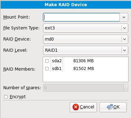 建立 RAID 裝置