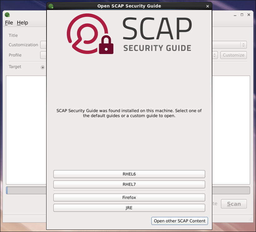 Open SCAP Security Guide ウィンドウ