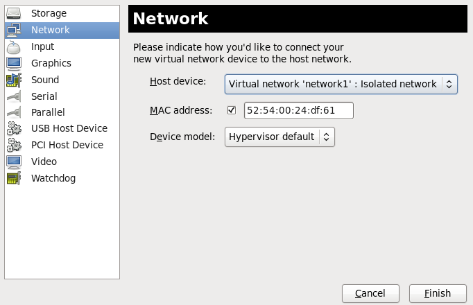 Select your network from the Add new virtual hardware window