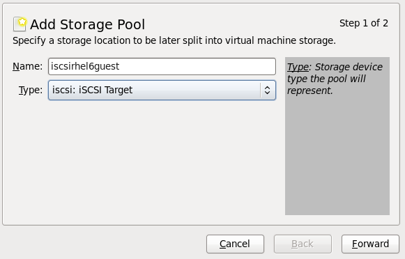Add an iscsi storage pool name and type