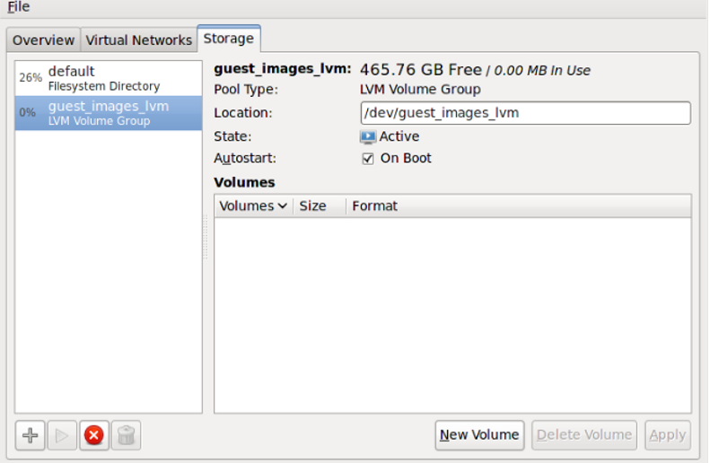 Confirm LVM storage pool details