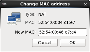 Change MAC Address window