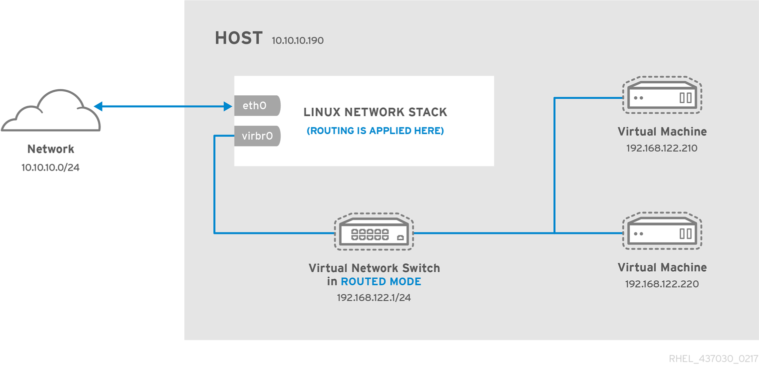 Virtual network switch in routed mode