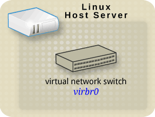 Linux host physical machine with an interface to a virtual network switch