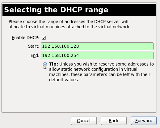 Selecting the DHCP range