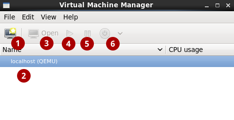 The Virtual Machine Manager interface