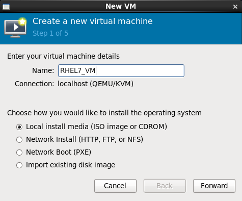Name virtual machine and select installation method