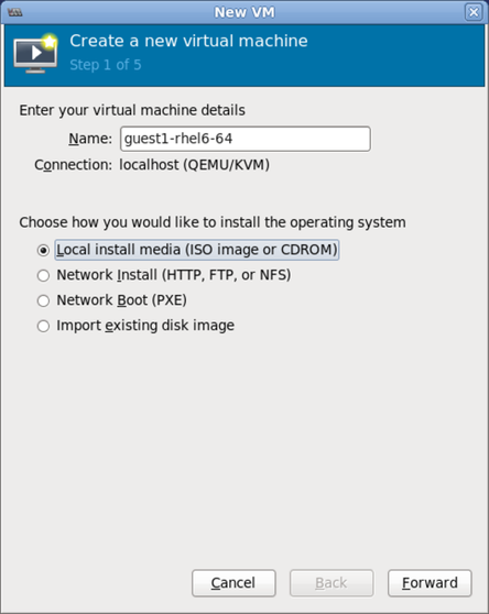 Name virtual machine and select installation method