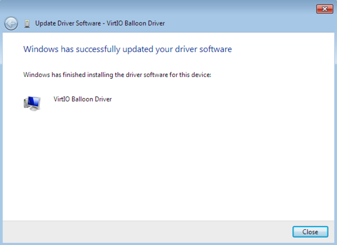 "After the driver software installs, the Update Driver Software wizard window read ""Windows has successfully updated your driver software""."