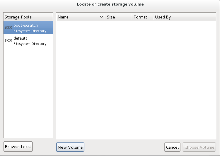 The Locate or create storage volume window
