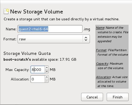 The Add a Storage Volume window