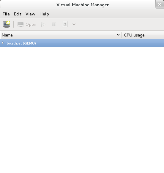 The Virtual Machine Manager window