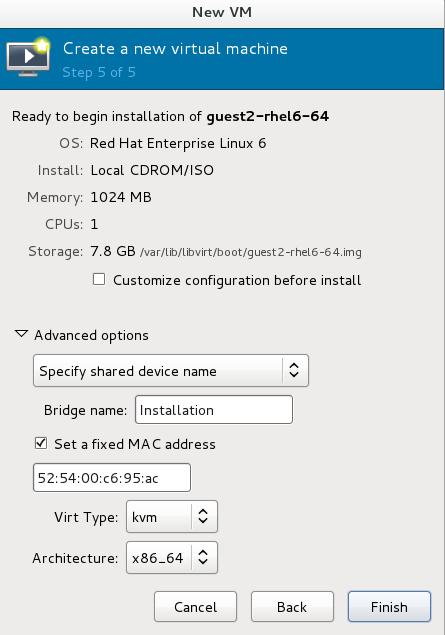 The New VM window - local storage