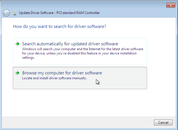 The driver update wizard provides two options for searching for driver software.
