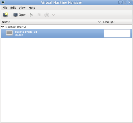 The main virt-manager window